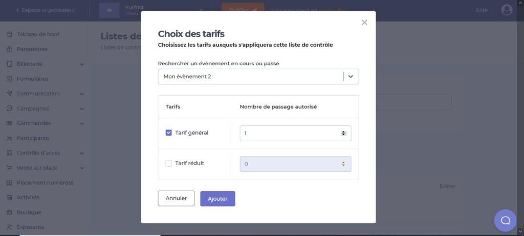 Capture d'écran de la plateforme Yurplan montrant la possibilité de sélectionner les tarifs d'autres évènements à sa liste de contrôle